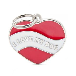 Адресник на ошейник My Family Colors Charms Сердце I love my dog-